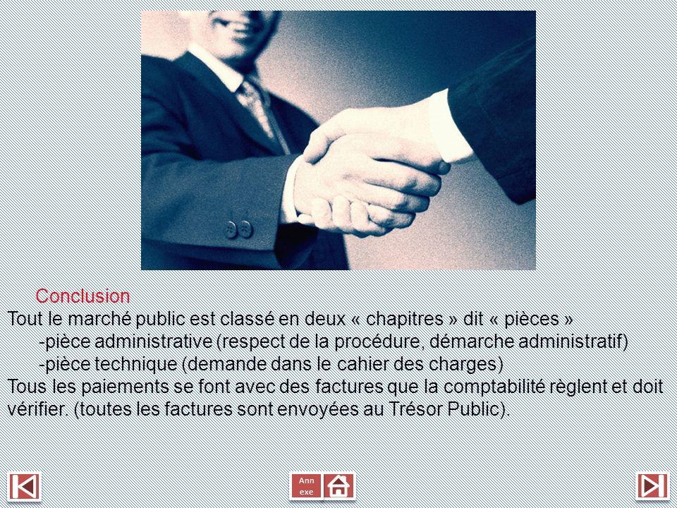 Conclusion Tout le marché public est classé en deux « chapitres » dit « pièces » -pièce administrative (respect de la procédure, démarche administrati