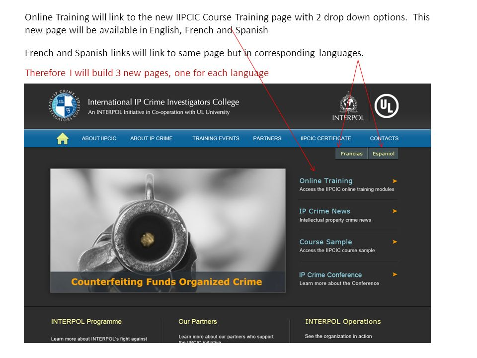 Online Training will link to the new IIPCIC Course Training page with 2 drop down options.