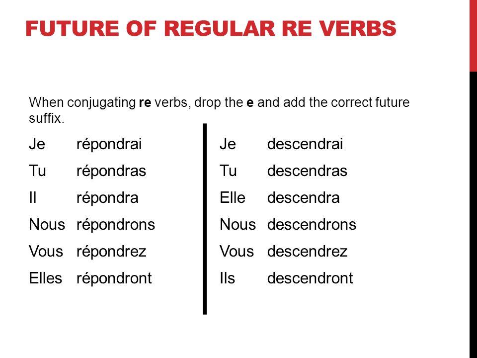 FUTURE OF REGULAR RE VERBS When conjugating re verbs, drop the e and add the correct future suffix. JerépondraiJedescendrai TurépondrasTudescendras Il