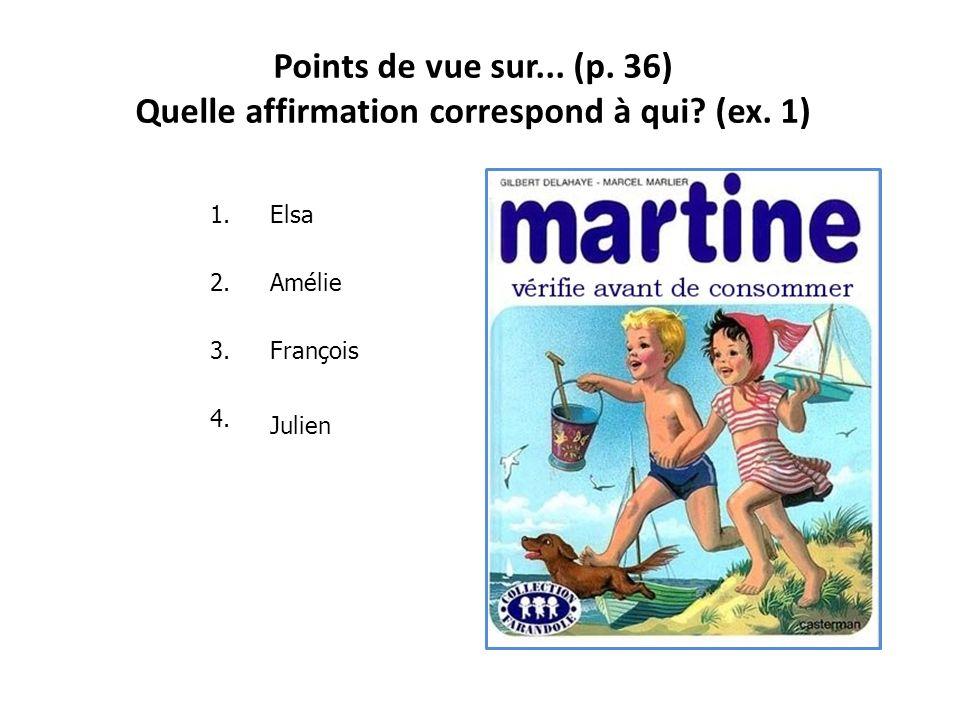 Points de vue sur... (p. 36) Julien -Tant pis = ce nest pas grave -La bouffe = la nourriture Amélié -Un emballage = le conditionnement -Le troc = écha