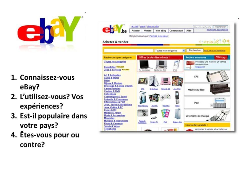 1.Connaissez-vous eBay.2.Lutilisez-vous. Vos expériences.