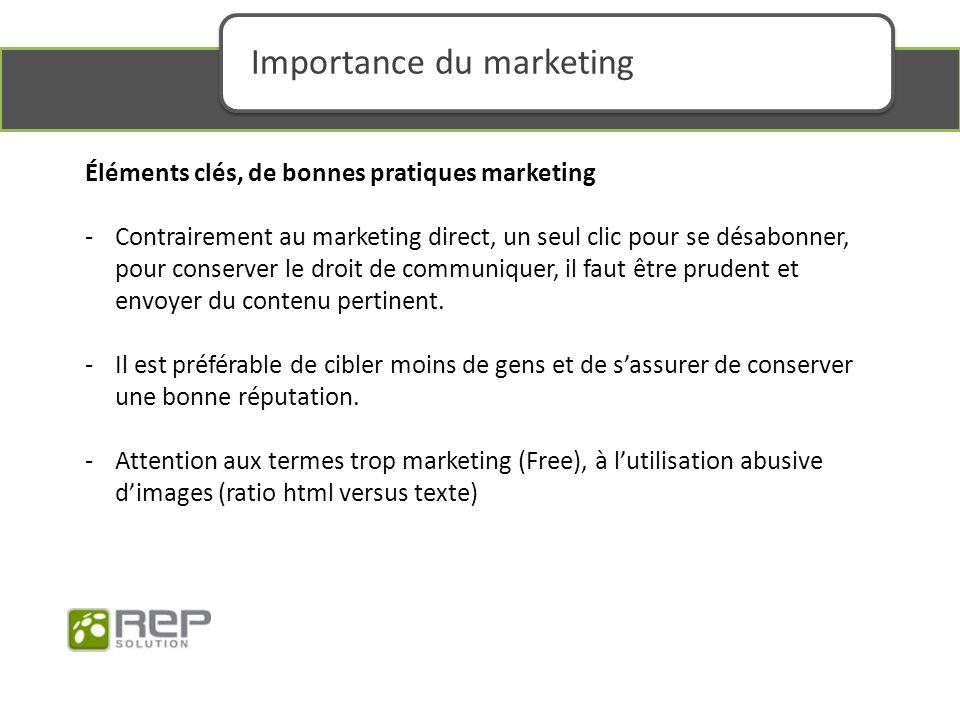 Éléments clés, de bonnes pratiques marketing -Contrairement au marketing direct, un seul clic pour se désabonner, pour conserver le droit de communiquer, il faut être prudent et envoyer du contenu pertinent.