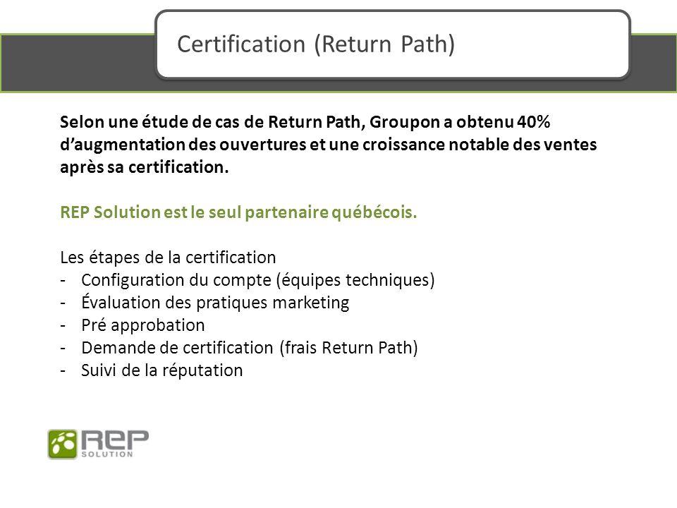 Selon une étude de cas de Return Path, Groupon a obtenu 40% daugmentation des ouvertures et une croissance notable des ventes après sa certification.