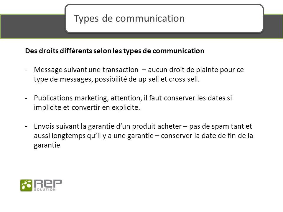 Des droits différents selon les types de communication -Message suivant une transaction – aucun droit de plainte pour ce type de messages, possibilité de up sell et cross sell.