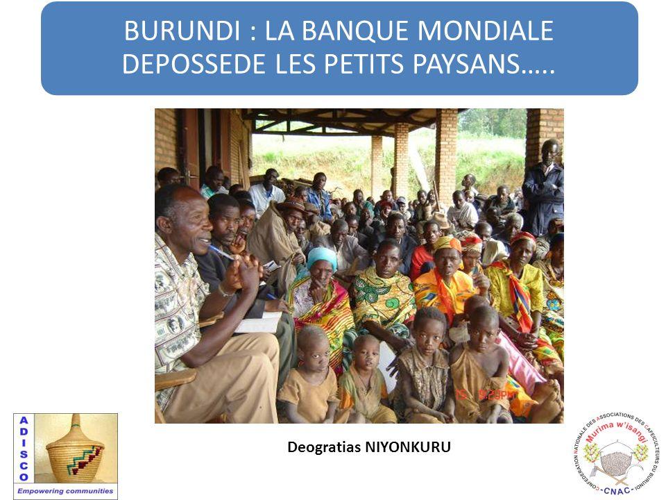 BURUNDI : LA BANQUE MONDIALE DEPOSSEDE LES PETITS PAYSANS….. Deogratias NIYONKURU