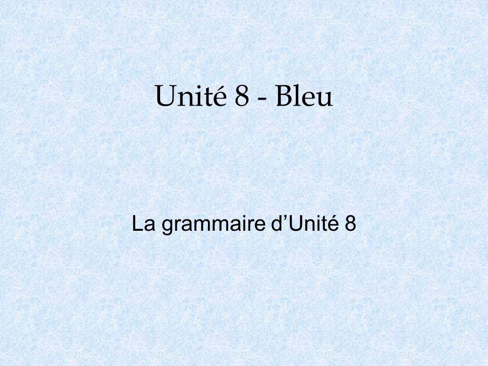 Unité 8 - Bleu La grammaire dUnité 8