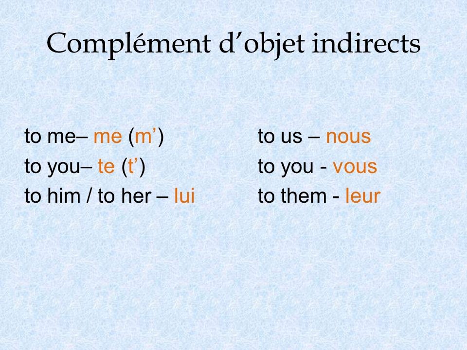 Complément dobjet indirects to me– me (m)to us – nous to you– te (t)to you - vous to him / to her – luito them - leur