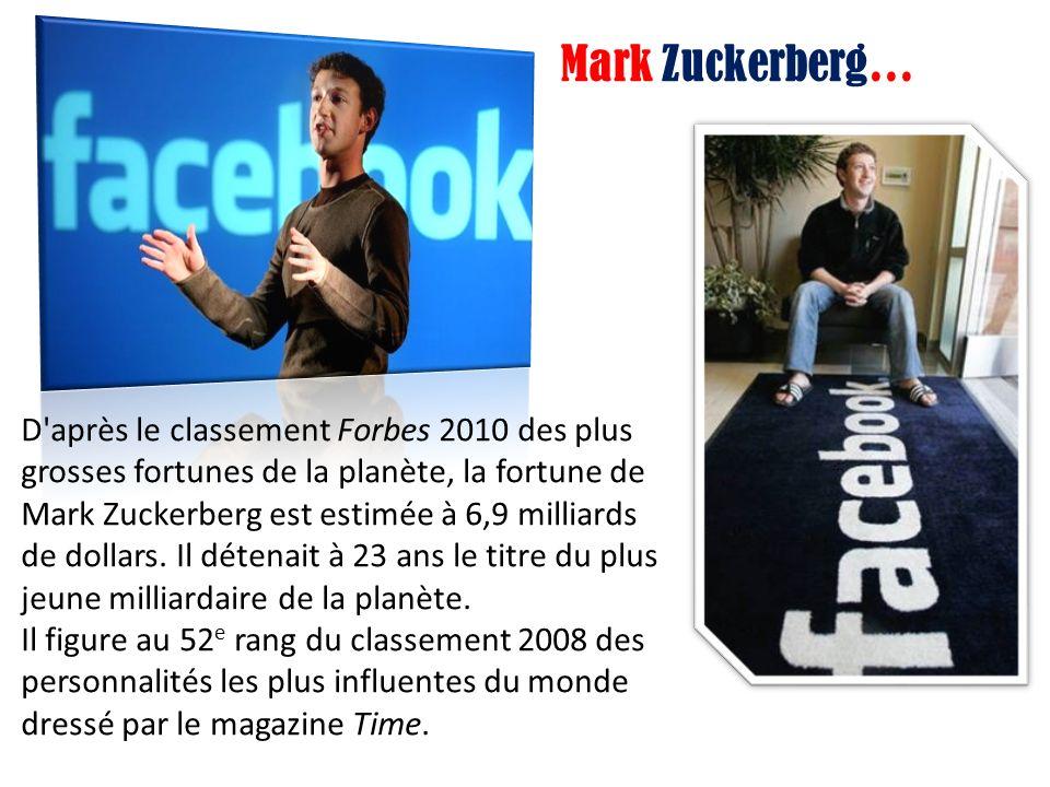 D après le classement Forbes 2010 des plus grosses fortunes de la planète, la fortune de Mark Zuckerberg est estimée à 6,9 milliards de dollars.