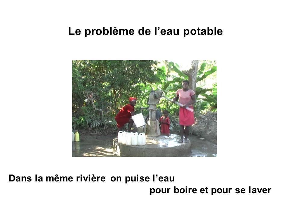 Le problème de leau potable Dans la même rivière on puise leau pour boire et pour se laver