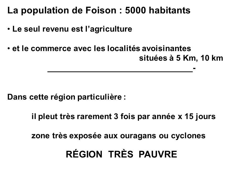La population de Foison : 5000 habitants Le seul revenu est lagriculture et le commerce avec les localités avoisinantes situées à 5 Km, 10 km ________