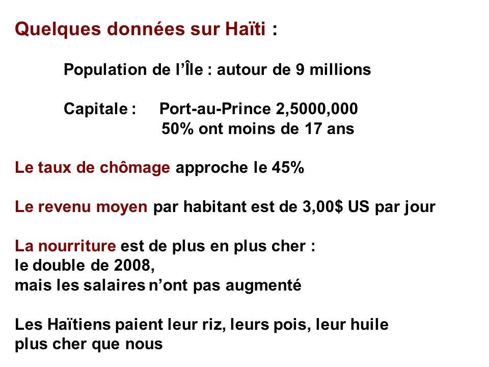Quelques données sur Haïti : Population de lÎle : autour de 9 millions Capitale : Port-au-Prince 2,5000,000 50% ont moins de 17 ans Le taux de chômage