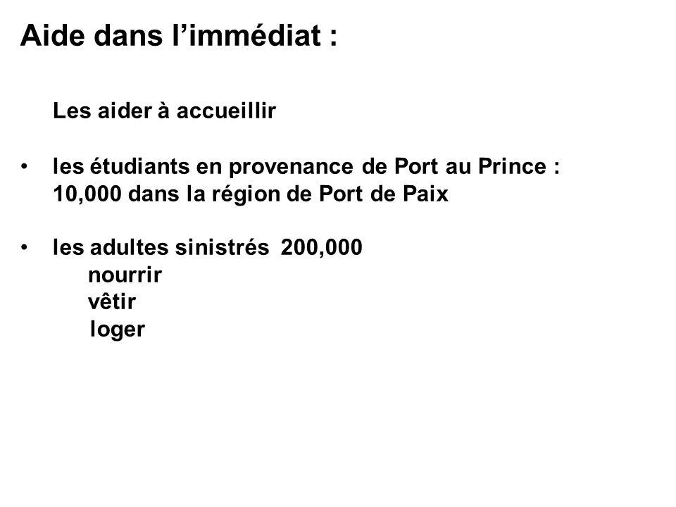 Aide dans limmédiat : Les aider à accueillir les étudiants en provenance de Port au Prince : 10,000 dans la région de Port de Paix les adultes sinistr