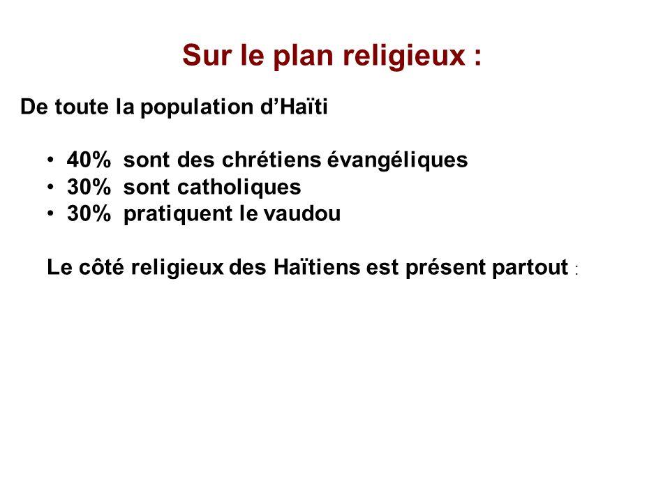 Sur le plan religieux : De toute la population dHaïti 40% sont des chrétiens évangéliques 30% sont catholiques 30% pratiquent le vaudou Le côté religi