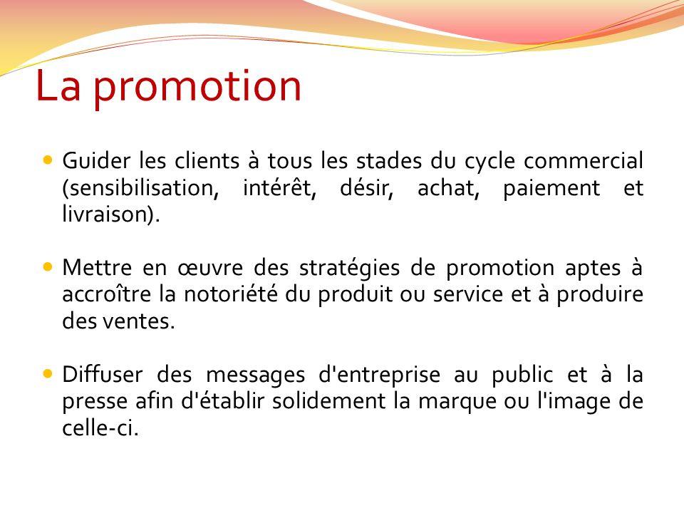 La promotion Guider les clients à tous les stades du cycle commercial (sensibilisation, intérêt, désir, achat, paiement et livraison).