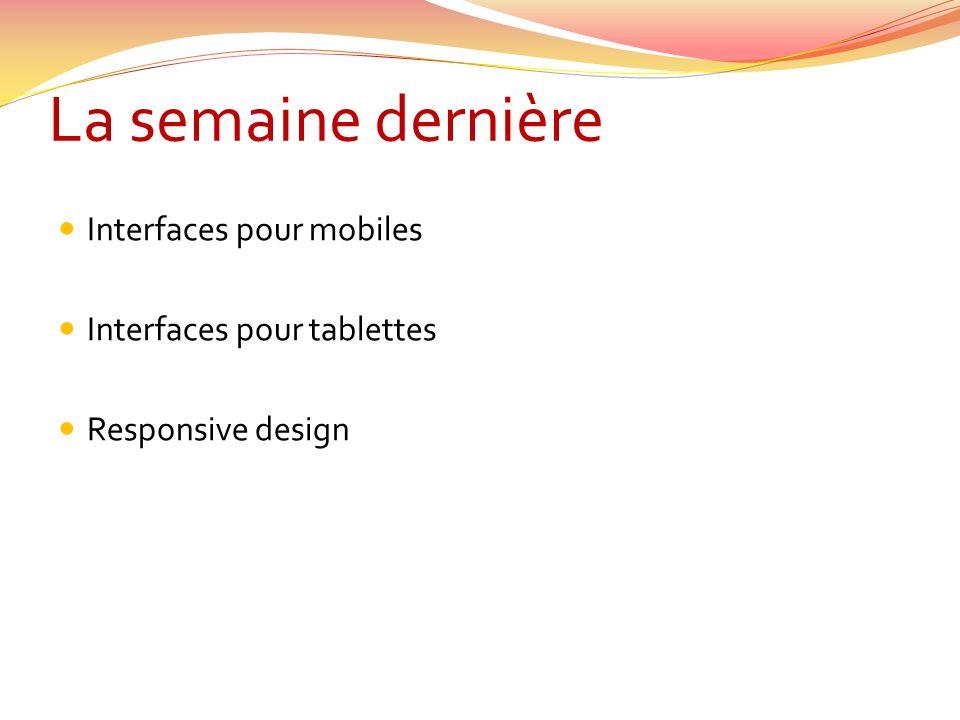 La semaine dernière Interfaces pour mobiles Interfaces pour tablettes Responsive design
