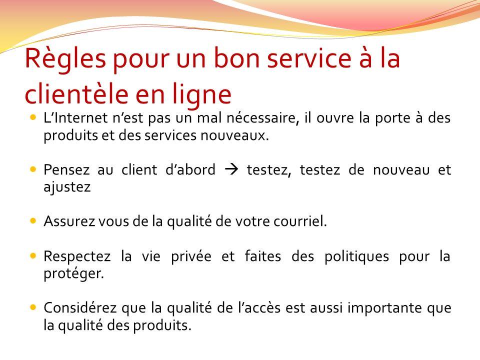 Règles pour un bon service à la clientèle en ligne LInternet nest pas un mal nécessaire, il ouvre la porte à des produits et des services nouveaux.