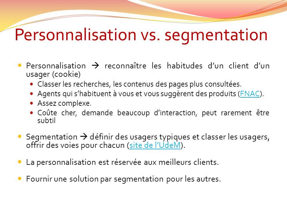 Personnalisation vs.