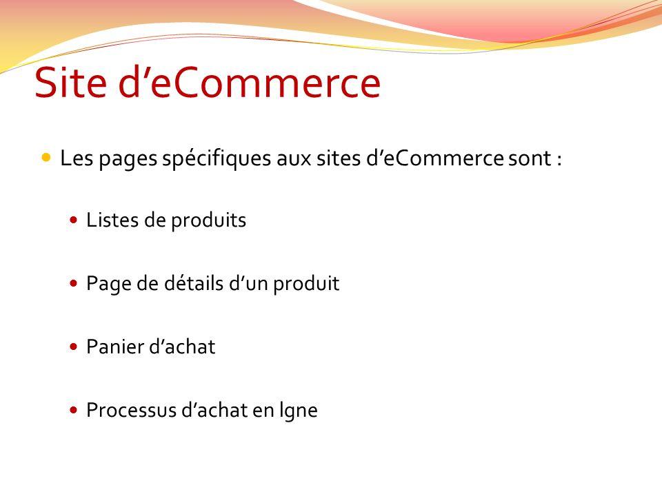 Site deCommerce Les pages spécifiques aux sites deCommerce sont : Listes de produits Page de détails dun produit Panier dachat Processus dachat en lgne