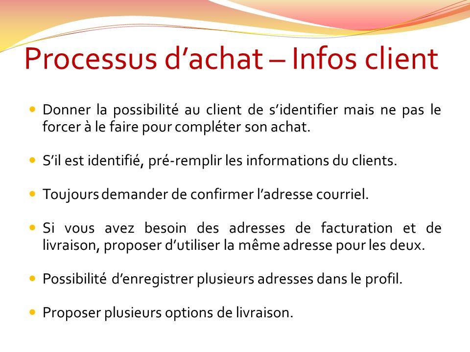 Processus dachat – Infos client Donner la possibilité au client de sidentifier mais ne pas le forcer à le faire pour compléter son achat.