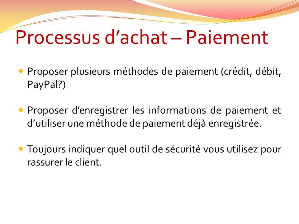 Processus dachat – Paiement Proposer plusieurs méthodes de paiement (crédit, débit, PayPal ) Proposer denregistrer les informations de paiement et dutiliser une méthode de paiement déjà enregistrée.