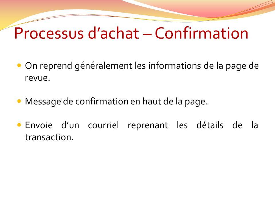 Processus dachat – Confirmation On reprend généralement les informations de la page de revue.