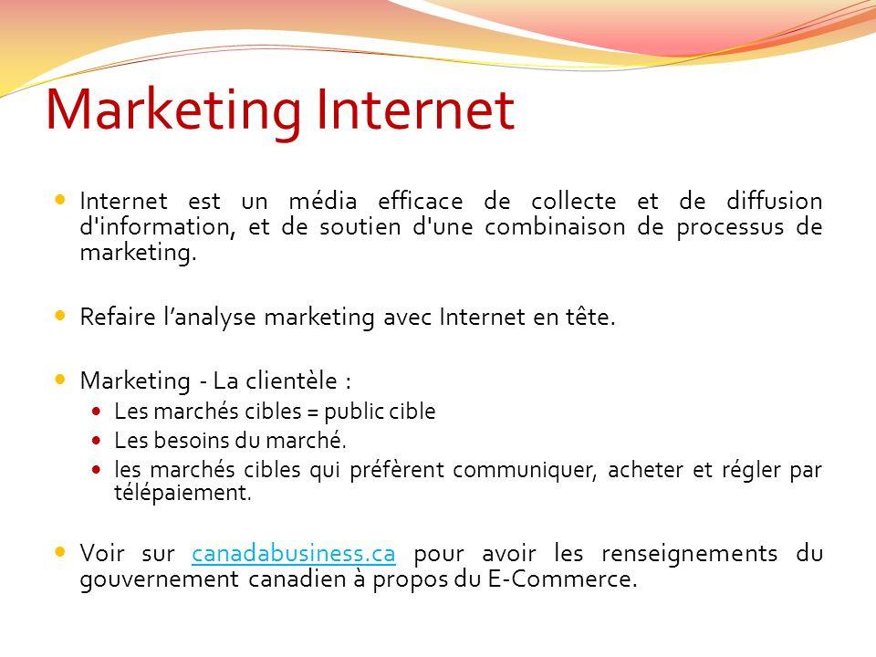 Internet est un média efficace de collecte et de diffusion d information, et de soutien d une combinaison de processus de marketing.