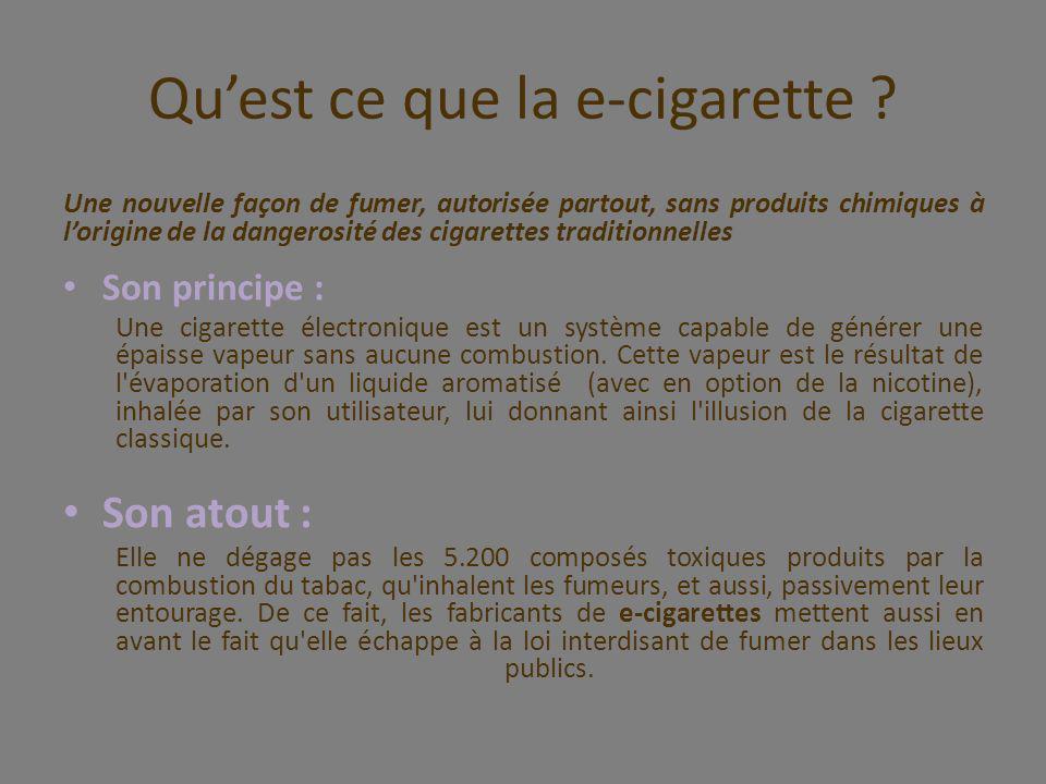 Une nouvelle façon de fumer, autorisée partout, sans produits chimiques à lorigine de la dangerosité des cigarettes traditionnelles Son principe : Une