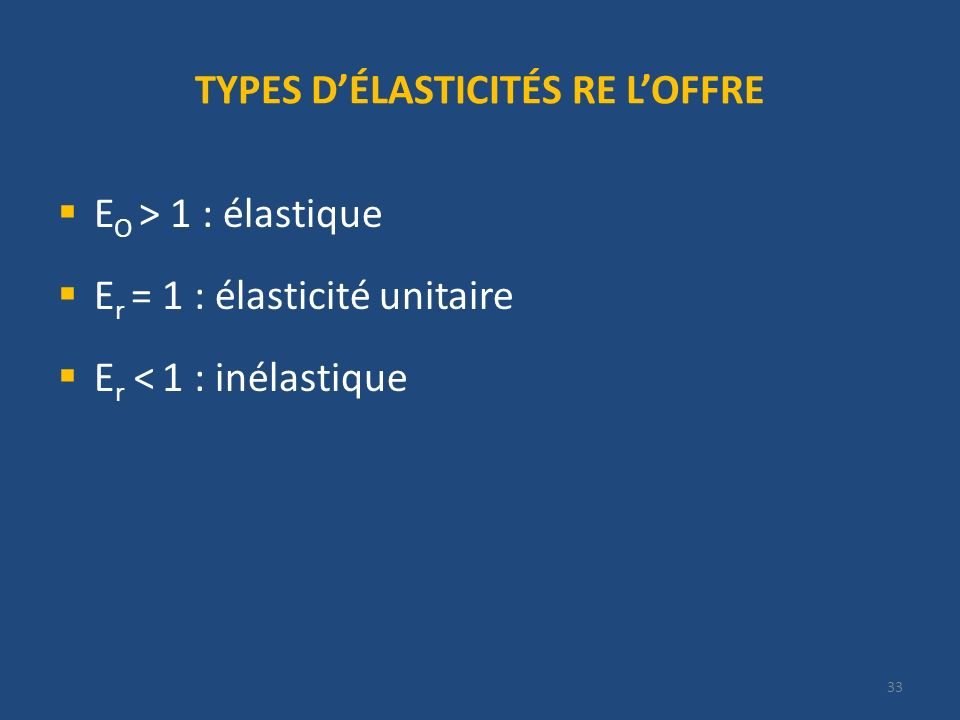 33 TYPES DÉLASTICITÉS RE LOFFRE E O > 1 : élastique E r = 1 : élasticité unitaire E r < 1 : inélastique