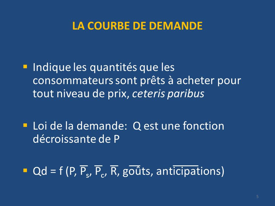 LA COURBE DE DEMANDE Qté Prix Fct de D : Qd (P) = 20 – 2P Fct de D inverse : P (Qd) = 10 – Q/2 Déplacement le long de la courbe si P varie 20 10 4 12 6 8 6 Déplacement de la courbe si une autre variable varie