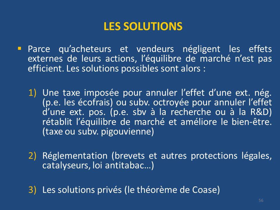 LES SOLUTIONS Parce quacheteurs et vendeurs négligent les effets externes de leurs actions, léquilibre de marché nest pas efficient.