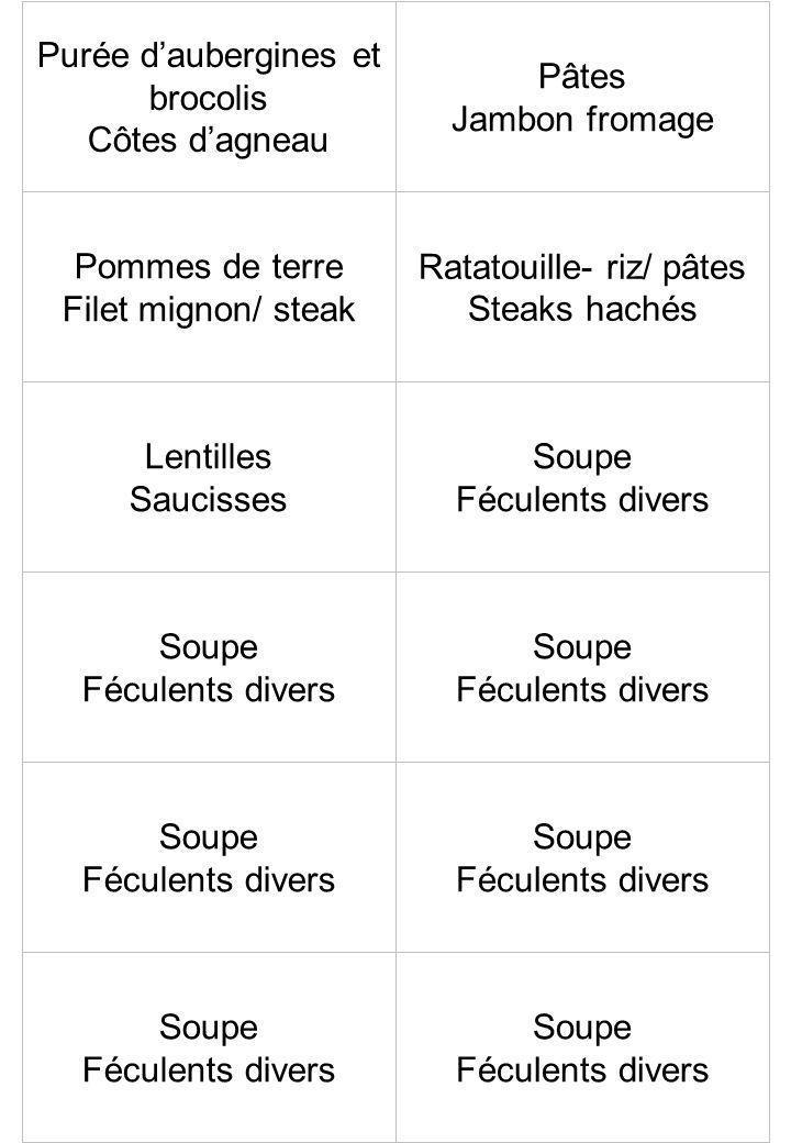 Purée daubergines et brocolis Côtes dagneau Pâtes Jambon fromage Pommes de terre Filet mignon/ steak Ratatouille- riz/ pâtes Steaks hachés Lentilles S