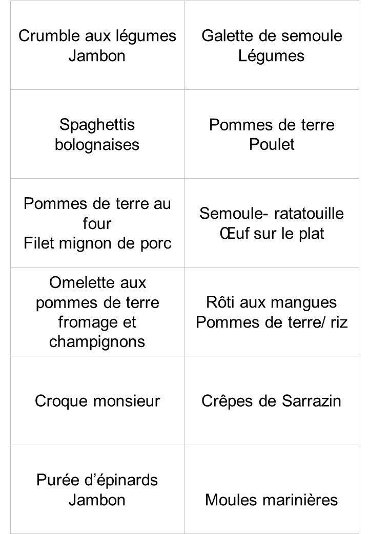 Crumble aux légumes Jambon Galette de semoule Légumes Spaghettis bolognaises Pommes de terre Poulet Pommes de terre au four Filet mignon de porc Semou