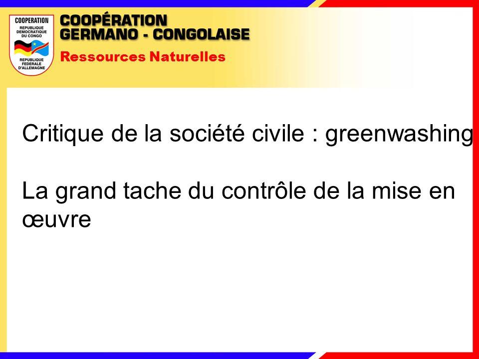 Ressources Naturelles Critique de la société civile : greenwashing La grand tache du contrôle de la mise en œuvre