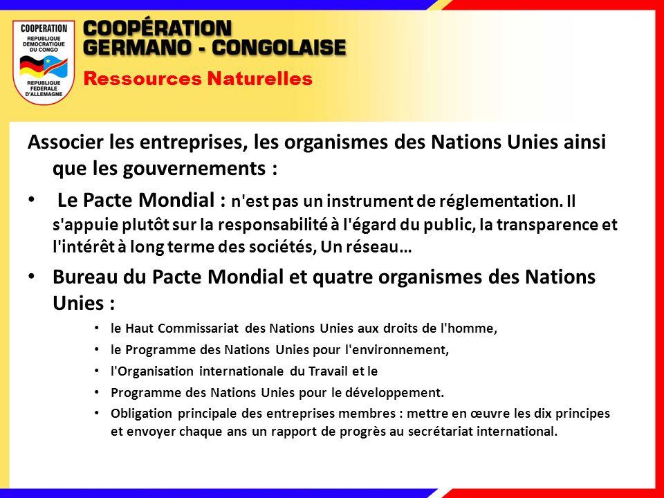 Ressources Naturelles Associer les entreprises, les organismes des Nations Unies ainsi que les gouvernements : Le Pacte Mondial : n est pas un instrument de réglementation.