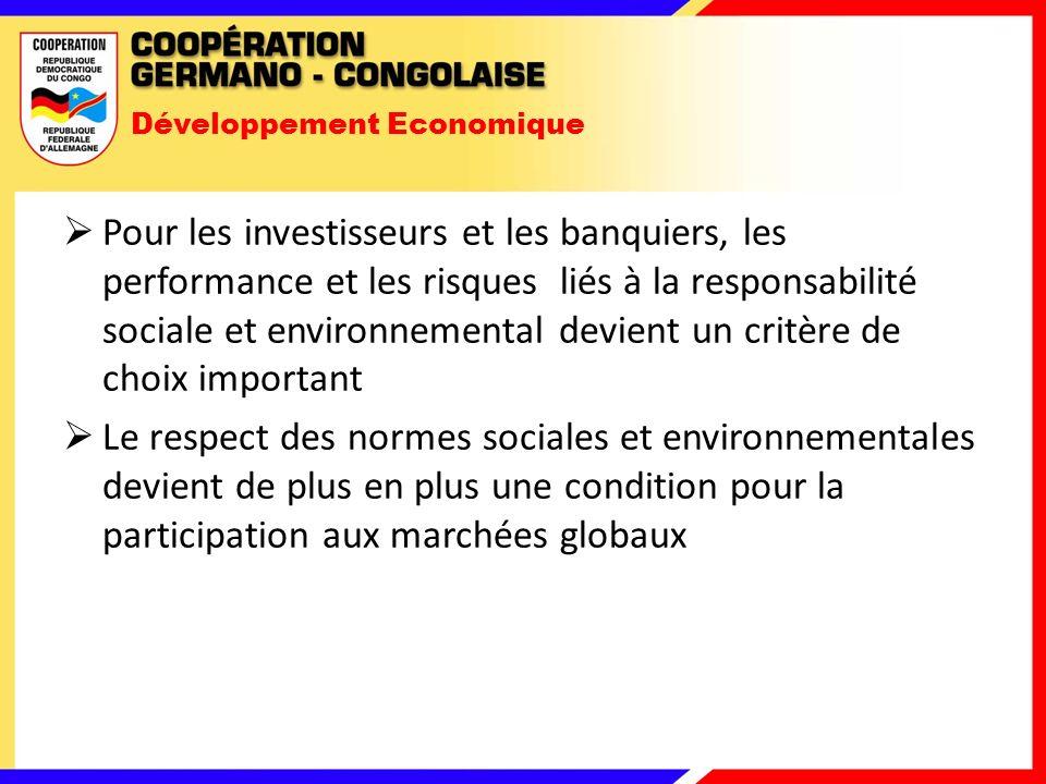 Développement Economique Pour les investisseurs et les banquiers, les performance et les risques liés à la responsabilité sociale et environnemental devient un critère de choix important Le respect des normes sociales et environnementales devient de plus en plus une condition pour la participation aux marchées globaux