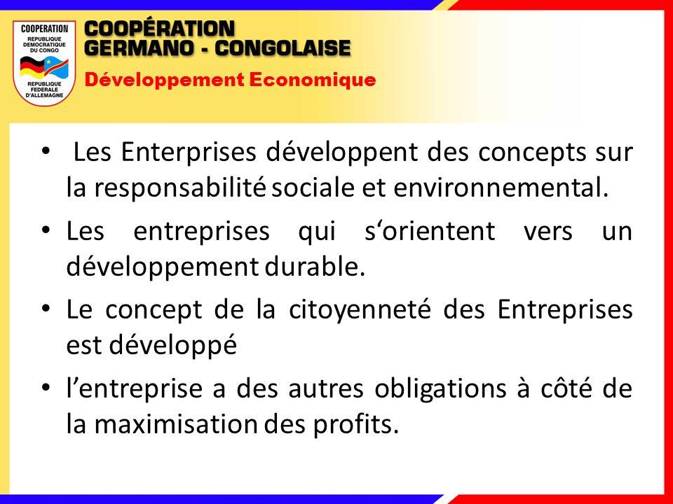 Développement Economique Les Enterprises développent des concepts sur la responsabilité sociale et environnemental.