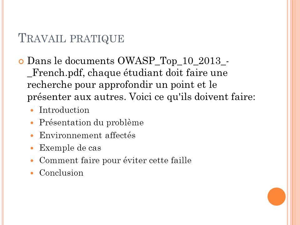 T RAVAIL PRATIQUE Dans le documents OWASP_Top_10_2013_- _French.pdf, chaque étudiant doit faire une recherche pour approfondir un point et le présente