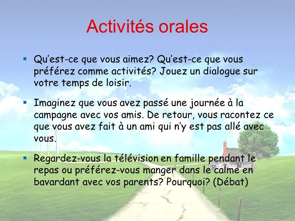 Activités orales Quest-ce que vous aimez? Quest-ce que vous préférez comme activités? Jouez un dialogue sur votre temps de loisir. Imaginez que vous a