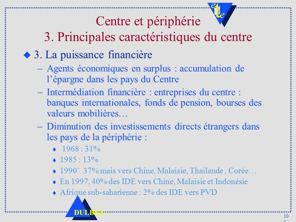 10 0 DULBEA Centre et périphérie 3. Principales caractéristiques du centre u 3. La puissance financière –Agents économiques en surplus : accumulation