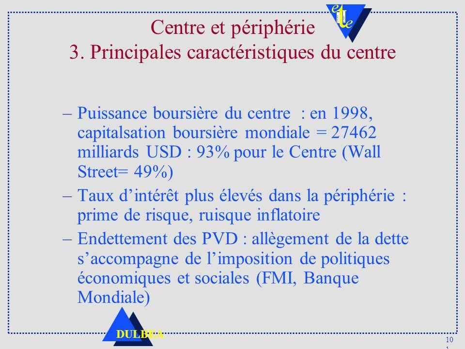 10 1 DULBEA Centre et périphérie 3. Principales caractéristiques du centre –Puissance boursière du centre : en 1998, capitalsation boursière mondiale