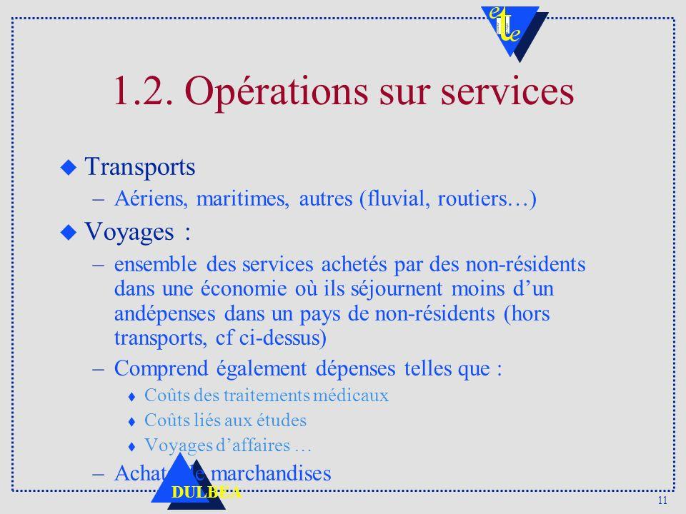 11 DULBEA 1.2. Opérations sur services u Transports –Aériens, maritimes, autres (fluvial, routiers…) u Voyages : –ensemble des services achetés par de