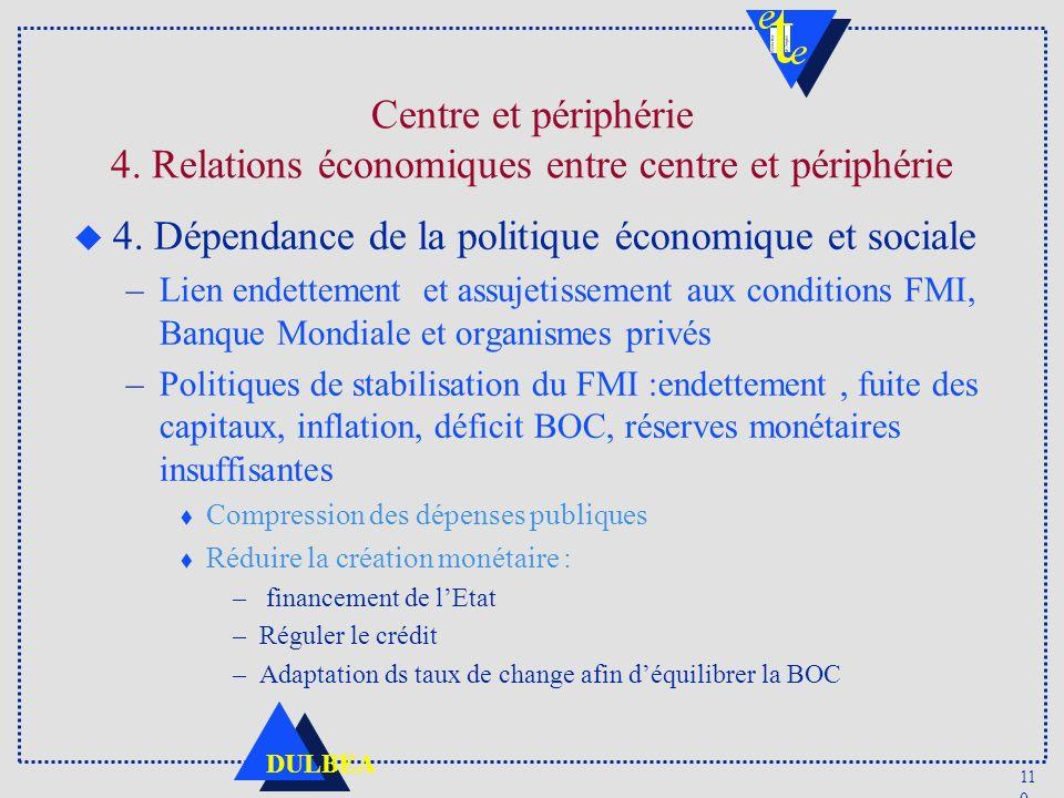 11 0 DULBEA Centre et périphérie 4. Relations économiques entre centre et périphérie u 4. Dépendance de la politique économique et sociale –Lien endet