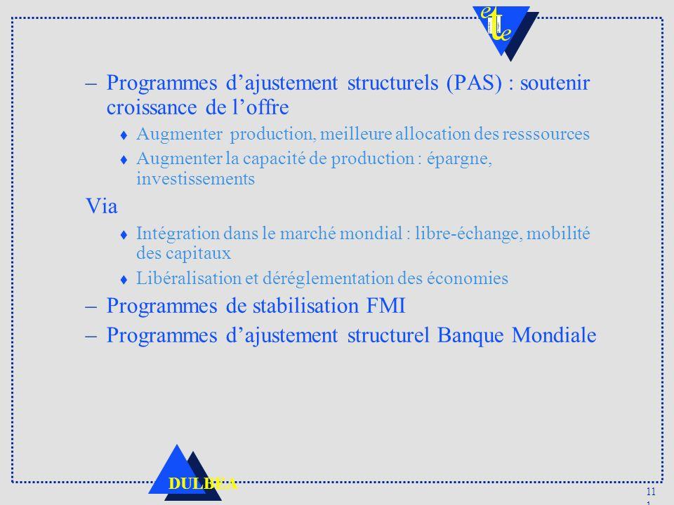 11 1 DULBEA –Programmes dajustement structurels (PAS) : soutenir croissance de loffre t Augmenter production, meilleure allocation des resssources t A
