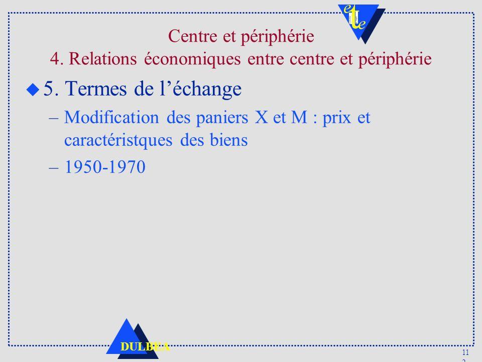 11 2 DULBEA u 5. Termes de léchange –Modification des paniers X et M : prix et caractéristques des biens –1950-1970 Centre et périphérie 4. Relations