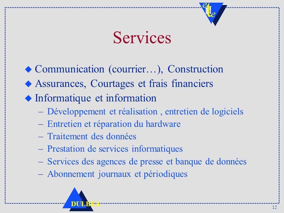 12 DULBEA Services u Communication (courrier…), Construction u Assurances, Courtages et frais financiers u Informatique et information –Développement