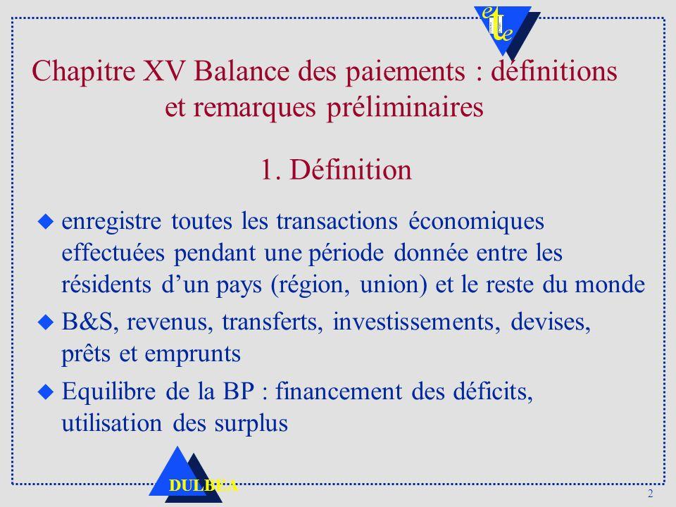 2 DULBEA Chapitre XV Balance des paiements : définitions et remarques préliminaires u enregistre toutes les transactions économiques effectuées pendan