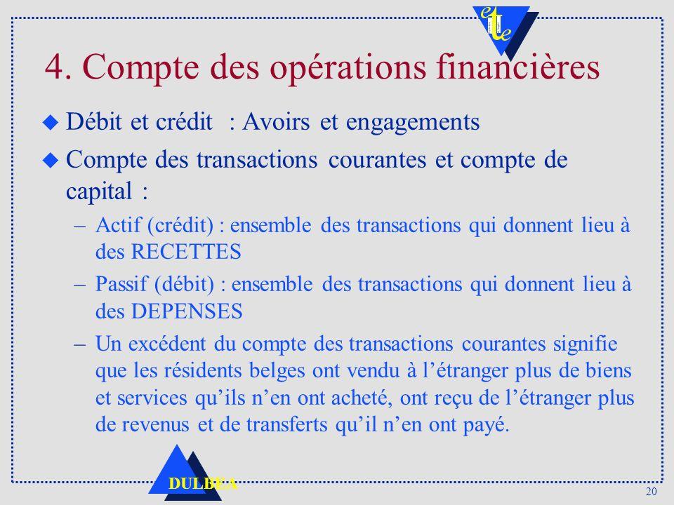 20 DULBEA 4. Compte des opérations financières u Débit et crédit : Avoirs et engagements u Compte des transactions courantes et compte de capital : –A