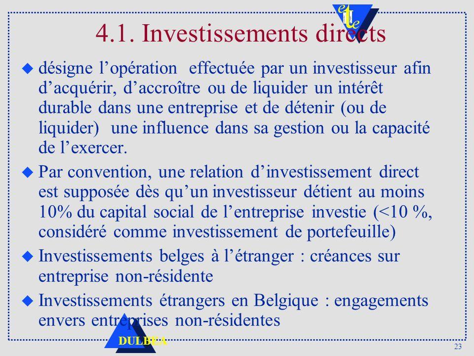 23 DULBEA u désigne lopération effectuée par un investisseur afin dacquérir, daccroître ou de liquider un intérêt durable dans une entreprise et de dé
