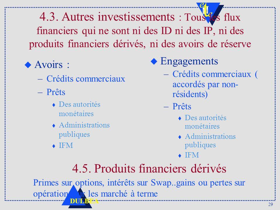 29 DULBEA 4.3. Autres investissements : Tous les flux financiers qui ne sont ni des ID ni des IP, ni des produits financiers dérivés, ni des avoirs de