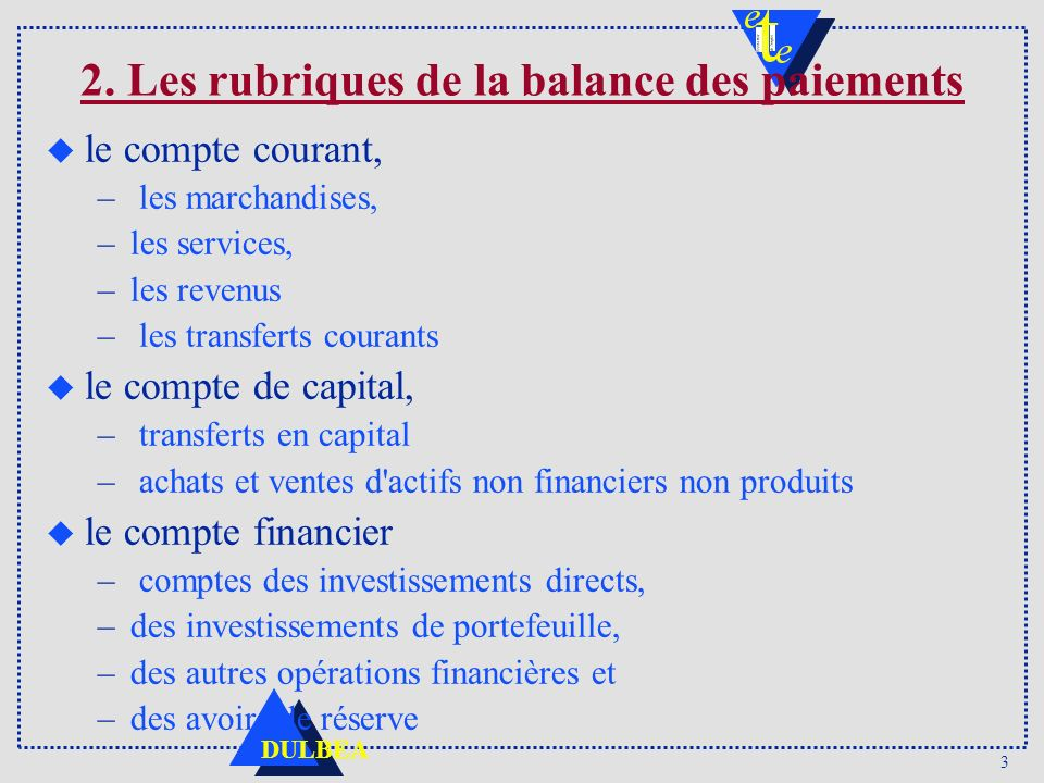 3 DULBEA 2. Les rubriques de la balance des paiements u le compte courant, – les marchandises, –les services, –les revenus – les transferts courants u